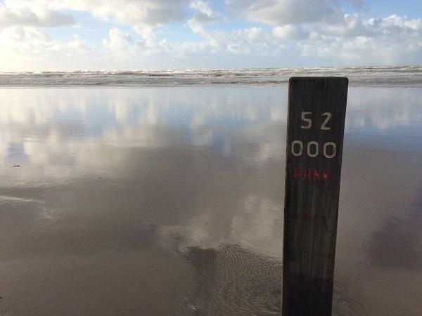 Strandpalen op het strand